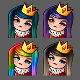 Emotion icons queen female with long hairs for social networks and stickers Royalty Free Stock Photos