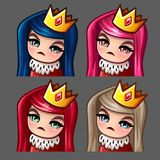 Emotion icons queen female with long hairs for social networks and stickers Stock Photos