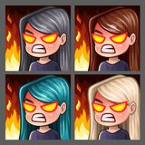 Emotion icons rage female with long hairs for social networks and stickers. Vector illustration Stock Photo