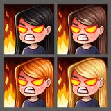 Emotion icons rage female with long hairs for social networks and stickers. Vector illustration Stock Photos