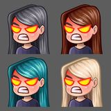 Emotion icons rage female with long hairs for social networks and stickers. Vector illustration Royalty Free Stock Photography