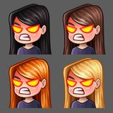 Emotion icons rage female with long hairs for social networks and stickers. Vector illustration Royalty Free Stock Photo