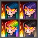 Emotion icons rage female with long hairs for social networks and stickers. Vector illustration Royalty Free Stock Photos