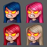 Emotion icons rage female with long hairs for social networks and stickers. Vector illustration Royalty Free Stock Image