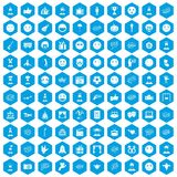 100 emotion icons set blue. 100 emotion icons set in blue hexagon isolated vector illustration Stock Photography