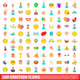 100 emotion icons set, cartoon style. 100 emotion icons set in cartoon style for any design vector illustration Royalty Free Stock Photos
