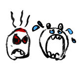 Emotion icons set. Drawn angry and crying heads. Stock Photography