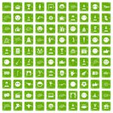 100 emotion icons set grunge green Royalty Free Stock Image