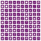 100 emotion icons set grunge purple. 100 emotion icons set in grunge style purple color isolated on white background vector illustration Stock Photography