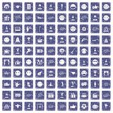 100 emotion icons set grunge sapphire. 100 emotion icons set in grunge style sapphire color isolated on white background vector illustration Royalty Free Stock Photo