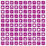 100 emotion icons set grunge pink. 100 emotion icons set in grunge style pink color isolated on white background vector illustration Stock Image