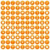 100 emotion icons set orange. 100 emotion icons set in orange circle isolated on white vector illustration stock illustration