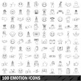 100 emotion icons set, outline style Stock Images