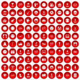 100 emotion icons set red. 100 emotion icons set in red circle isolated on white vector illustration Stock Photo
