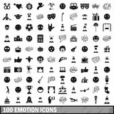 100 emotion icons set, simple style. 100 emotion icons set in simple style for any design vector illustration Stock Images