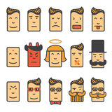 Emotion icons set. Set of square emotion icons with rounded corners. Flat style, original character vector illustration