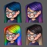 Emotion icons smile female in glasses with long hairs for social networks and stickers. Vector illustration Royalty Free Stock Photos