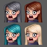 Emotion icons surprised female with long hairs for social networks and stickers Stock Images
