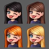 Emotion icons winks and shows tongue female with long hairs for social networks and stickers. Vector illustration Stock Photo