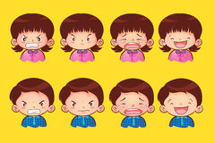 Emotion kids. Vector cute face of  boy and girl cartoon many emotions Royalty Free Stock Photo