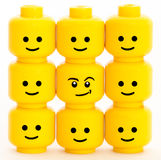 Emotion. Lego men heads with different emotions Stock Images