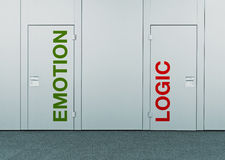 Emotion or logic, concept of choice. Closed doors with printed marks as concept of decision making, options, strategy and dilemmas Royalty Free Stock Images