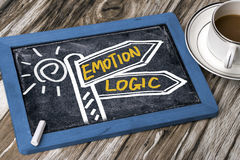 Emotion or logic signpost hand drawing on blackboard Royalty Free Stock Images
