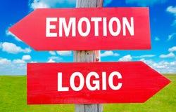 Emotion and logic. Way choice showing strategy change or dilemmas Stock Image