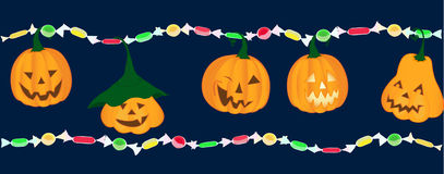 Emotion pumpkins with bright candies. Emotion pumpkins with bright colorful candies trick or treat Stock Image