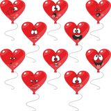 Emotion red hearts balloon set 003. Vector. Emotion red hearts balloon set 003 Stock Photography