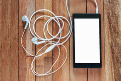 Emotion of relax, Smartphone white screen with earphone Stock Photo