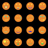 Emotion round face icons on black background Stock Photos