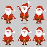 Emotion Santas. Happy Santa, jumping Santa, Santa in love, angry Santa, smart Santa, sad Santa Stock Image