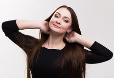 Emotion series of young and beautiful ukrainian girl - dreaming  and happyness Stock Photography