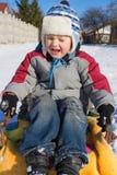 Emotion sledding Royalty Free Stock Photo