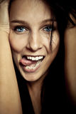 Emotion smile young girl. With blue eyes Stock Photos