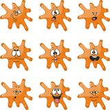 Emotion smiles cartoon orange blot color set  010 Stock Images