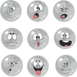 Emotion smiles gray color set  012 Royalty Free Stock Photography