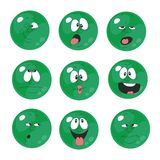Emotion smiles green color set  006 Royalty Free Stock Image