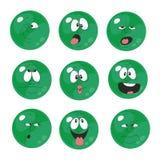 Emotion smiles green color set 006. Vector. Emotion smiles green color set 006 royalty free illustration