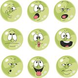 Emotion smiles green color set  009 Royalty Free Stock Photos