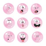 Emotion smiles pink color set  008 Royalty Free Stock Photography