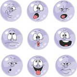 Emotion smiles violet color set  007 Royalty Free Stock Photography