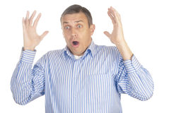 Emotion of surprise at the adult man royalty free stock images