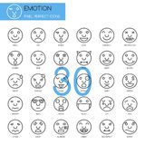 Emotion , thin line icons set. Pixel Perfect Icons Royalty Free Stock Photo