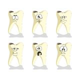 Emotion tooth cartoon set 008 Royalty Free Stock Image