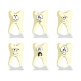 Emotion tooth cartoon set 007 Royalty Free Stock Image