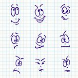 Emotion, vector set of nine face. On notebook paper Stock Images