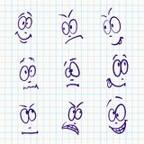 Emotion, vector set of nine face Stock Photos