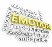 Emotion Wide Range Sadness Joy Surprise Anger Depression. Emotion 3d words in a collage including anger, disgust, sadness, depression, sadness, anticipation Royalty Free Stock Photography